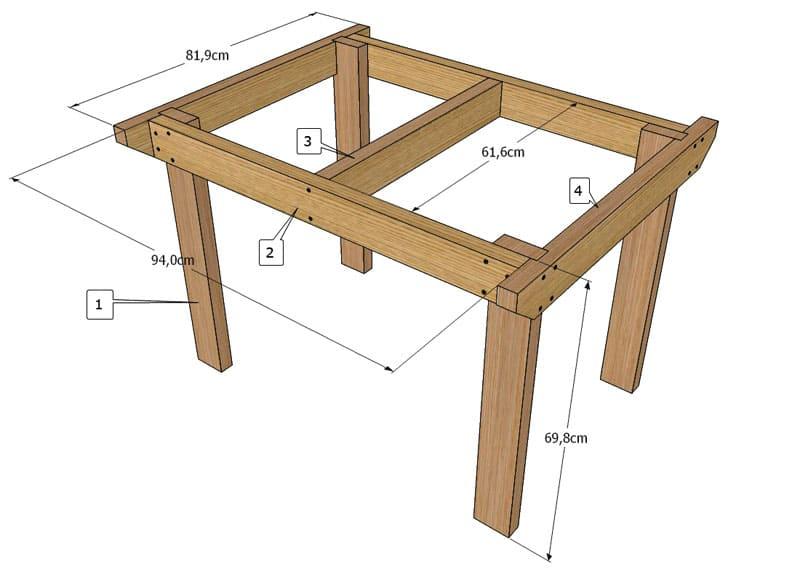Классический вариант деревянного стола для кухни