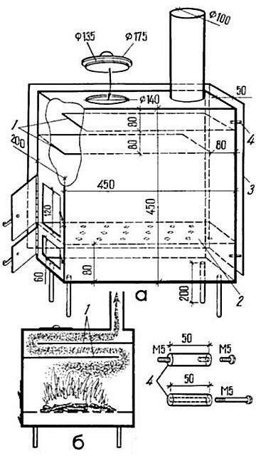 Чертеж для самостоятельного изготовления буржуйки для гаража из стального листа