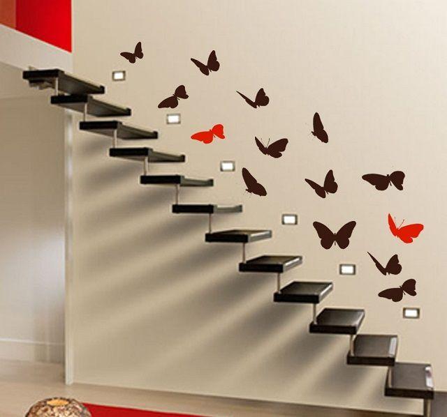 В качестве главной темы этого трафаретного рисунка выбраны бабочки