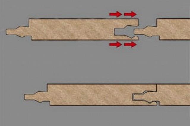Для соединения ламинированных досок с замком типа «LOCK» требуется приложение ударного усилия.