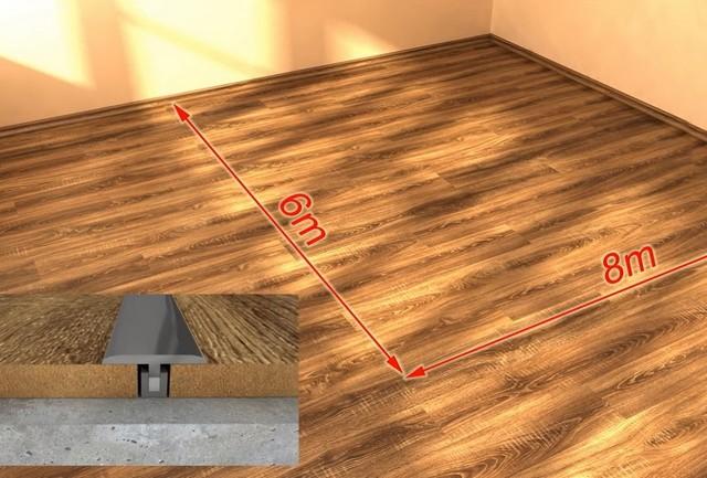Деформационный разрыв ламинированного покрытия со вставкой и декоративной накладкой.