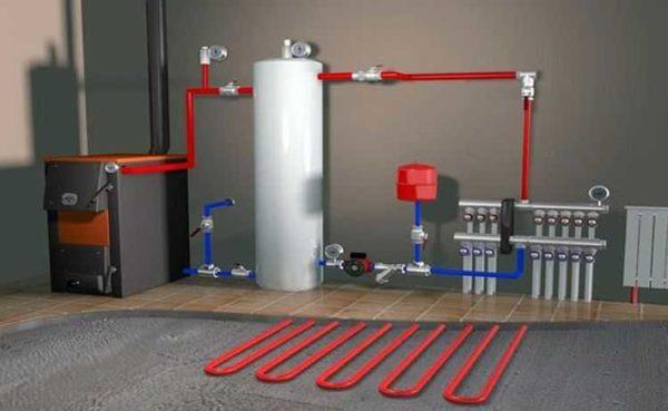 Все системы отопления с теплым полом принудительные - без насоса через такие большие контура теплоноситель не пройдет