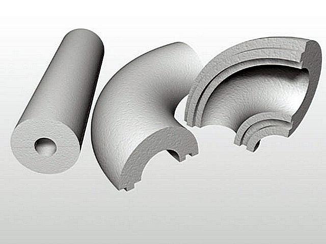 Для термоизоляции водопровода на повороте могут использоваться вот такие детали-отводы.
