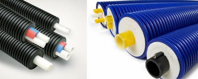 Трубы с термоизоляцией из нескольких слоев пенополиэтилена и внешней гофрированной оболочкой из прочного ПНД: слева – производства «Uponor», справа – «Microflex».