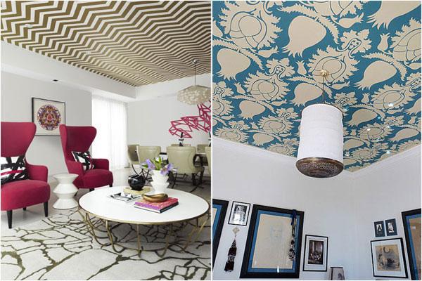 обои с узорчатым рисунком на потолке