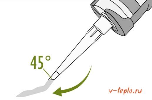 обрезка наконечника под углом в 45 градусов