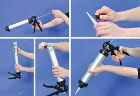 установка картриджа в трубчатый пистолет для герметика